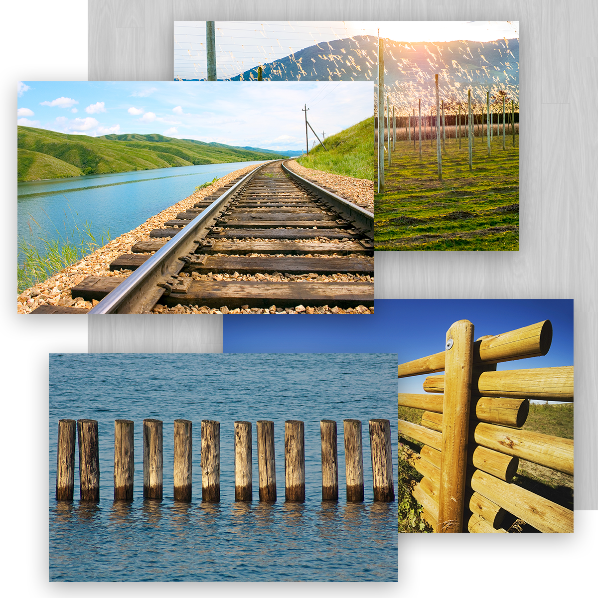 Collage of Westlake Timber Supply Products in Use including Used Railroad ties, Fence Posts, Pilings, and Hop Poles
